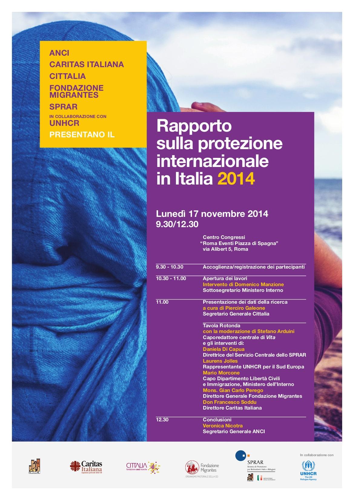17 novembre, Rapporto sulla Protezione Internazionale in Italia 2014