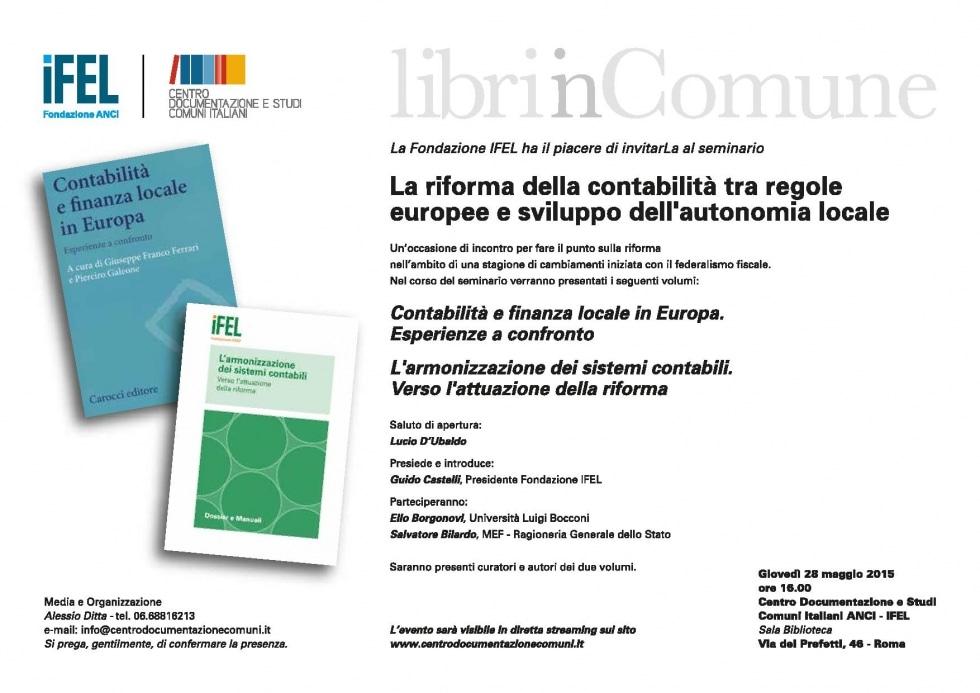 28 maggio, La riforma della contabilità tra regole europee e sviluppo dell'autonomia locale