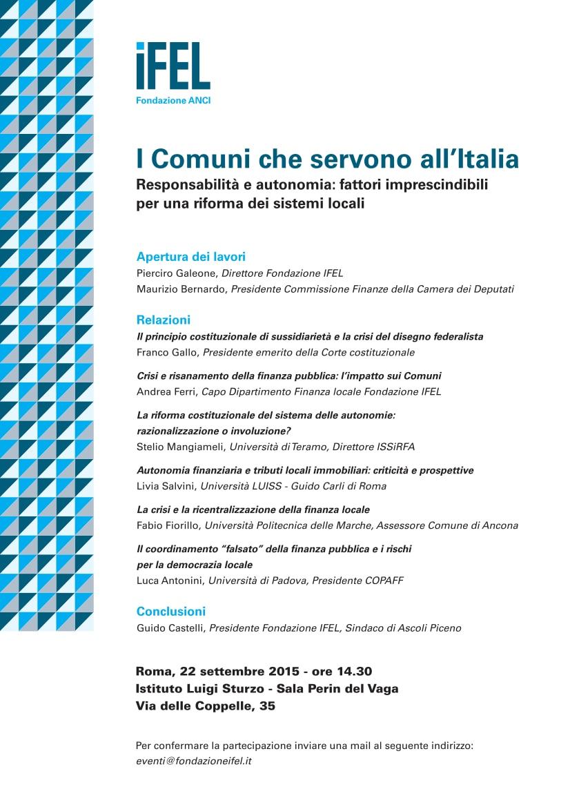 """22 settembre a Roma. Convegno IFEL """"I Comuni che servono all'Italia"""""""