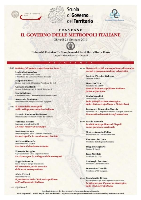 Scuola di Governo del Territorio: un convegno sul Governo delle Metropoli italiane