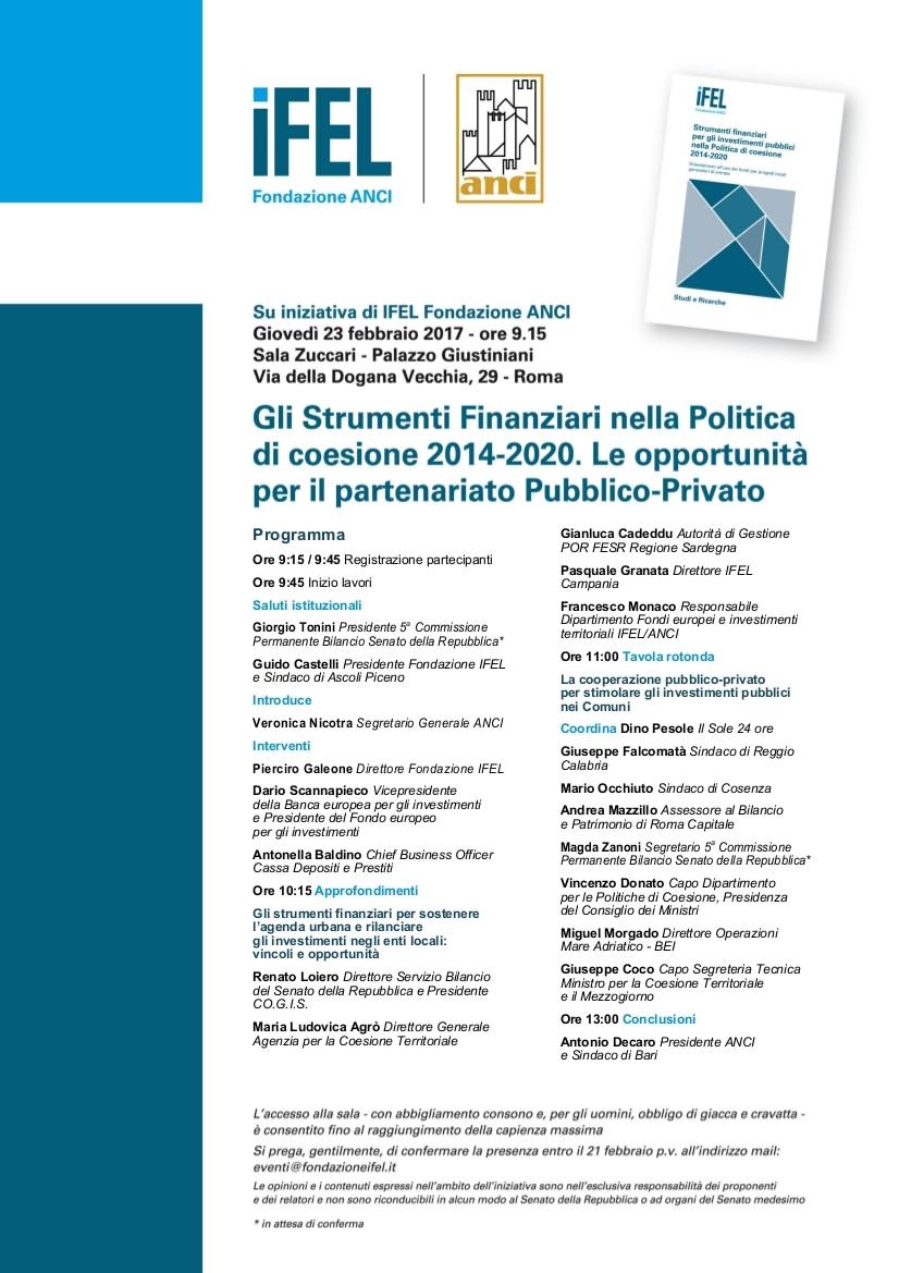 20 febbraio: strumenti finanziari per gli investimenti pubblici nella Politica di coesione 2014-2020. A Roma un convegno di IFEL